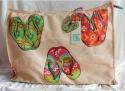 PE FLORENCE Strandtasche Badetasche Flipflop & Embellishment NEU 9629 sand