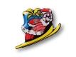 Weihnachtsanstecker - Blinki - Weihnachtsmann auf Ski