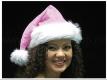 Weihnachtsmütze rosa silberne Sterne - dicker Pelzrand