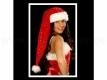 Weihnachtsmütze lang 90 cm rot mit silbernen Sternen und dickem Pelzrand