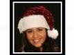 Weihnachtsmütze bordeaux mit Leuchtbommel, silbernen Sternen und Pelzrand