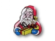Weihnachts Blinki LED Anstecker Weihnachtsmann mit Geschenk